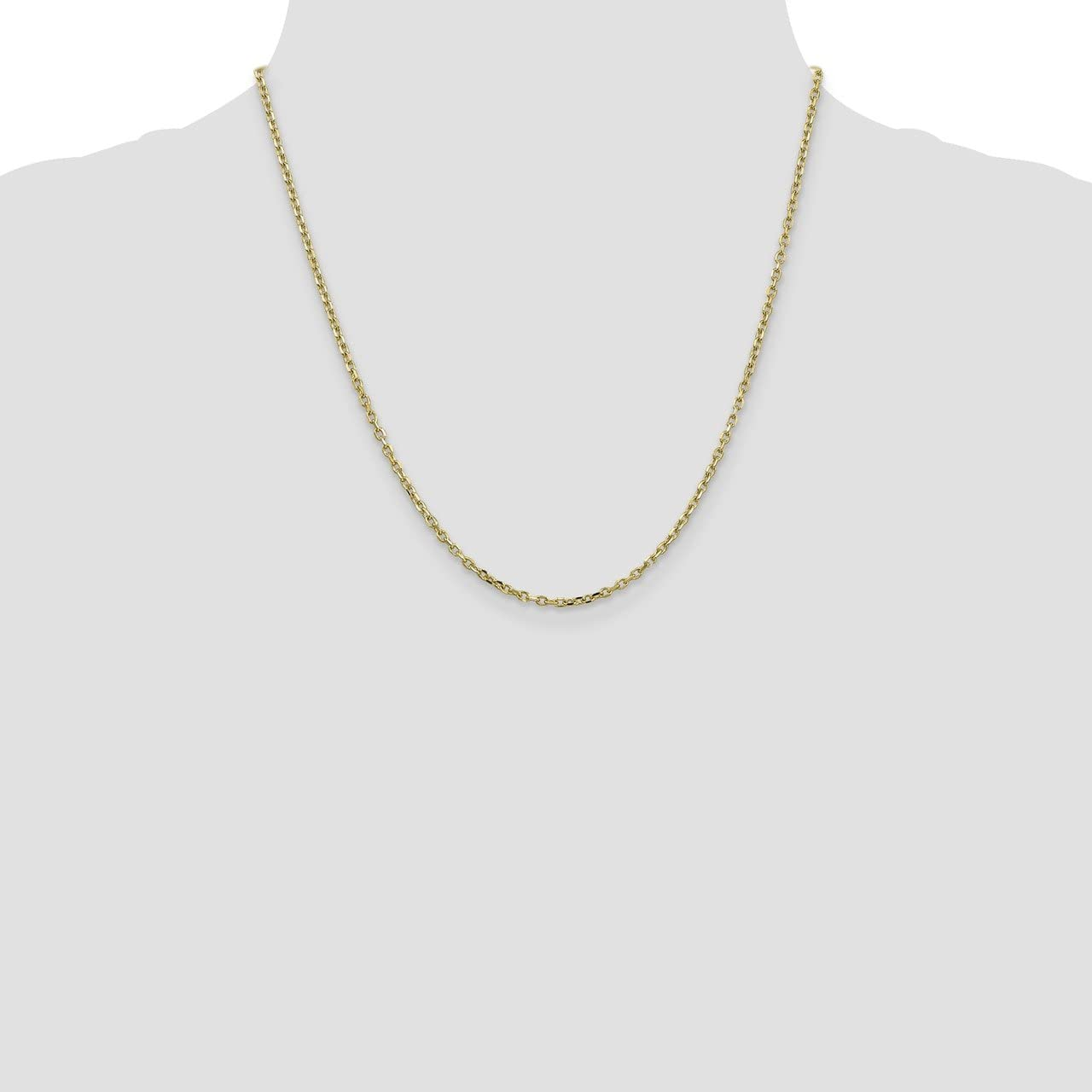 Lex /& Lu 10k Yellow Gold 2.2mm D//C Cable Chain Necklace