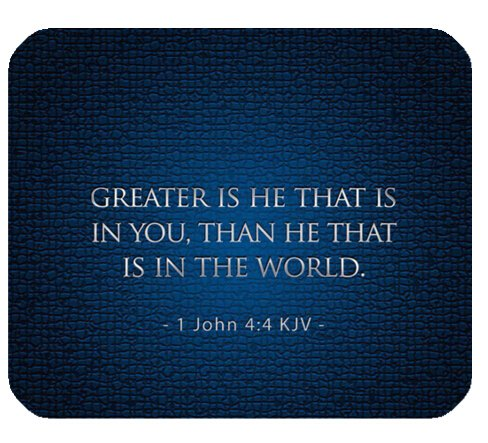 Christian Bible Verse Mouse Pad, Greater is He that is in You,than the that is in the World.1John 4:4 KJV, Mousepad Custom Freely Cloth Cover 9.84″ X 7.87″