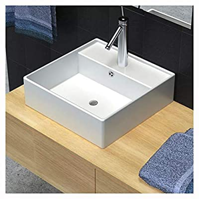 """HomyDelight Bathroom Sink, Ceramic Basin with Overflow & Faucet Hole 16.1""""x16.1"""" White"""