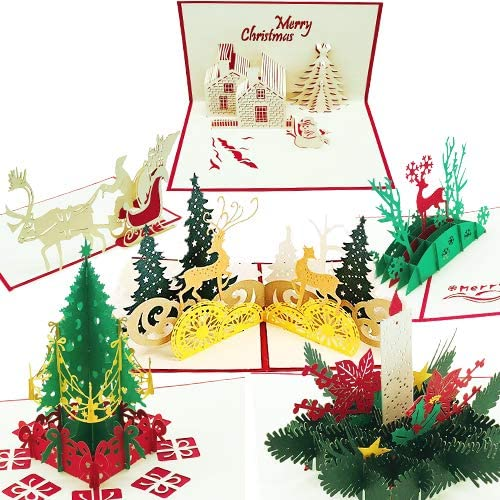 Christmas Cards 3D Pop Up Merry Christmas Greeting Cards Xmas Gifts MO