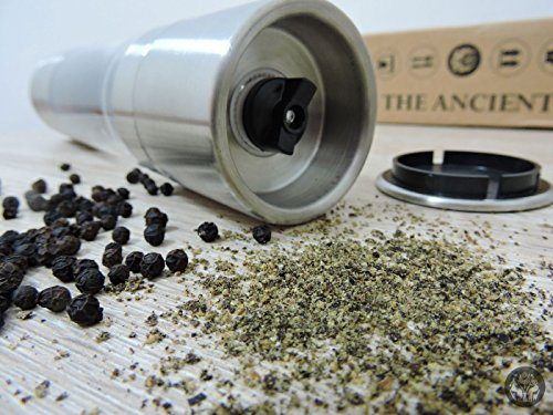 The Ancient Salt and Pepper Grinder Set - Professional Two in One Stainless Steel Mill - Grind from Coarse to Fine in 2 Seconds