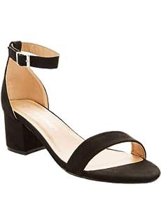 Comfortable Low Block Heel Ankle Strap Pump Charles Albert Wide Width Dress Sandals for Women
