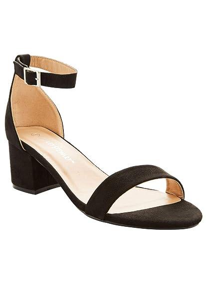 ba4ed478f1e Charles Albert Dress Sandals for Women Comfortable Wide Width Low Block  Heel Ankle Strap Pump