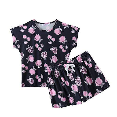 MyFav Womens Summer Casual Sleepwear Fruits Printed Pajamas Loungewear Shorts