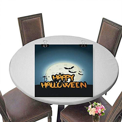 Polyesters Round Tablecloth,Happy Halloween Flyer Design - Vector Background Wedding Birthday Baby Shower Party up to 55.5