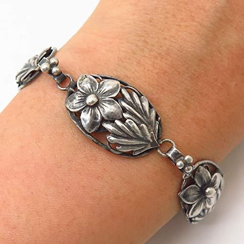 925 Sterling Silver Vintage 1940s Coro Craft Floral Design Link Bracelet 6.5
