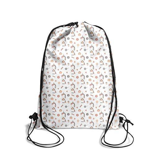DSFSDCD Unicorn Cute Cartoon Halloween Multifunction Lightweight Drawstring White Backpack Waterproof Shoulder Bags Rucksack for Women -