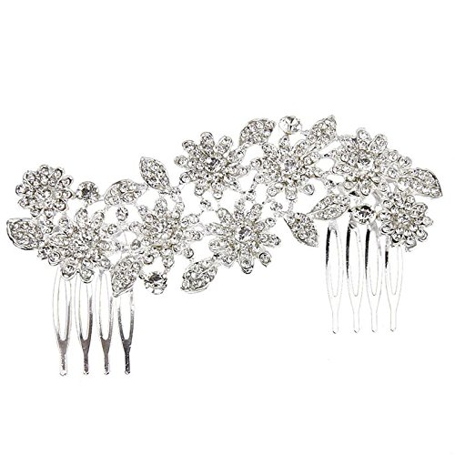 Coolrunner Flower Rhinestone Hair Comb Hair Accessories Wedding Decoration Clip Hair Pin Hair Accesories