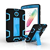 Teenystar Armor Case for LG V498, [Full-Body Protection] Shockproof dust-proof hard armor Heavy Duty design with Kickstand Protective Case For LG G Pad 2 8.0'' [V498] /LG G Pad F 8.0'' (Black+Blue)