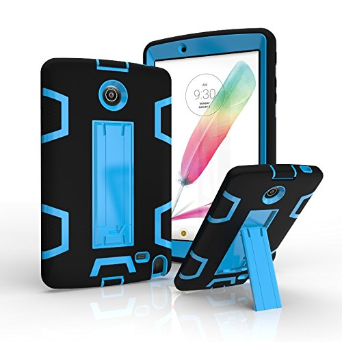 Teenystar Armor Case for LG V498, [Full-Body Protection] Shockproof dust-proof hard armor Heavy Duty design with Kickstand Protective Case For LG G Pad 2 8.0'' [V498] /LG G Pad F 8.0'' (Black+Blue) by Teenystar