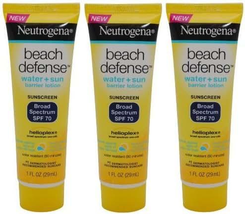 Neutrogena Beach Defense Sunscreen Lotion Broad Spectrum SPF 70, Travel Size (Pack of 3) 1 oz