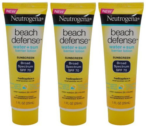 Neutrogena Beach Defense Sunscreen Lotion Broad Spectrum SPF 70, Travel Size (Pack of 3) 1 - 2008 Pocket Purse