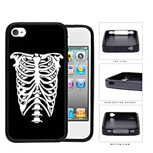 Rib Cage Skeleton Black And White Rubber Silicone TPU Cell Phone Case Apple iPhone 4 4s