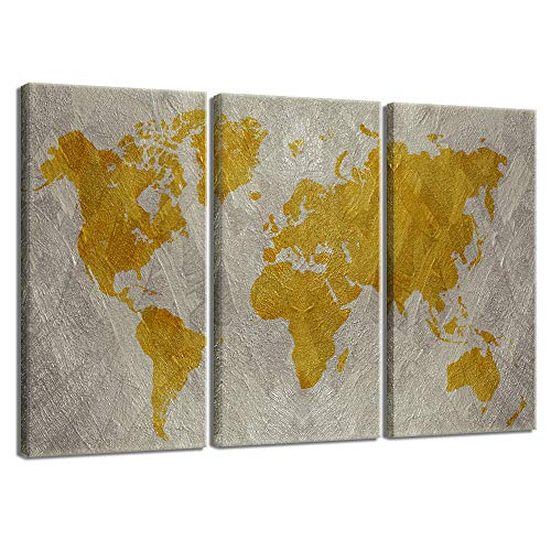 sechars - 3 Pieces Map Wall Art Abstract Gold Map of The World Painting Wall Decor for Modern Home Office Living Room Stretched Gallery Canvas Wrap Giclee Print Ready to Hang (Map Gold Canvas)