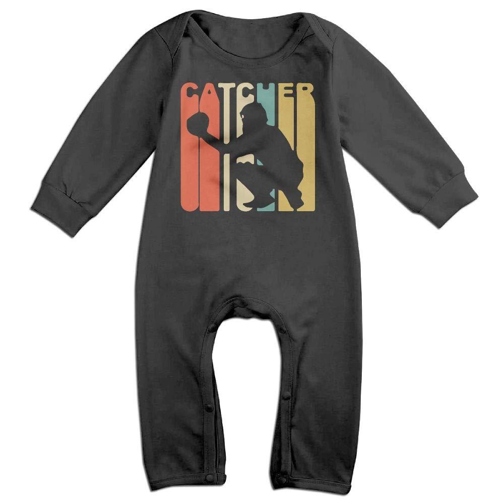Retro 1970s Style Catcher Silhouette Long Sleeve Newborn Baby Bodysuit for 6-24 Months Bodysuit