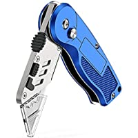 Tdbest Folding Box Cutter Utility Knife with 11 Replaceable Stainless Steel Blades