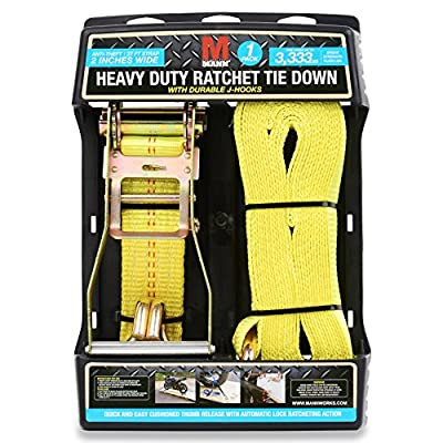 Mann Ratchet Tie Down Straps J Hook 1 Pack 27'X 2