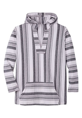 KingSize Men's Big & Tall Pullover Gauze Hoodie, Black Stripe Tall-2Xl (Hoodie Pullover Cover)