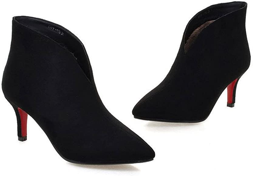 f8514ccf753 Womens Sexy Pointed Toe Kitten Heel Ankle Boots