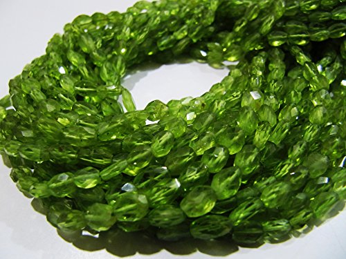 Natural Peridot Oval Faceted Beads 4x6mm to 5x7mm Gemstones Strands 13 inches Long, Mani Shape Beads Semi Precious Stones Sold per Strand