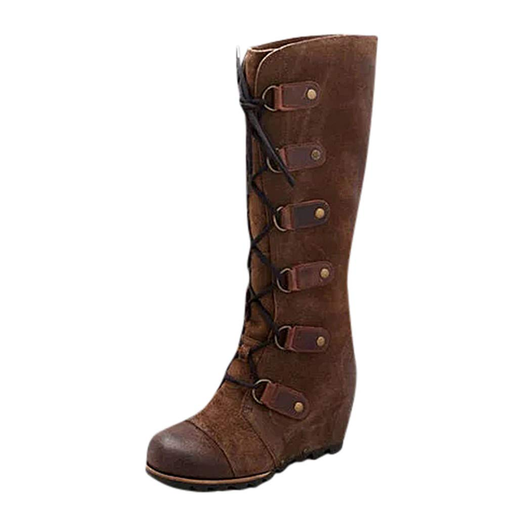 Fheaven Outdoor Vintage Boots Womens Round Toe Thick Bottom Wedges Lace-Up Keep Warm Shoes Knee High Boots Brown by Fheaven-shoes