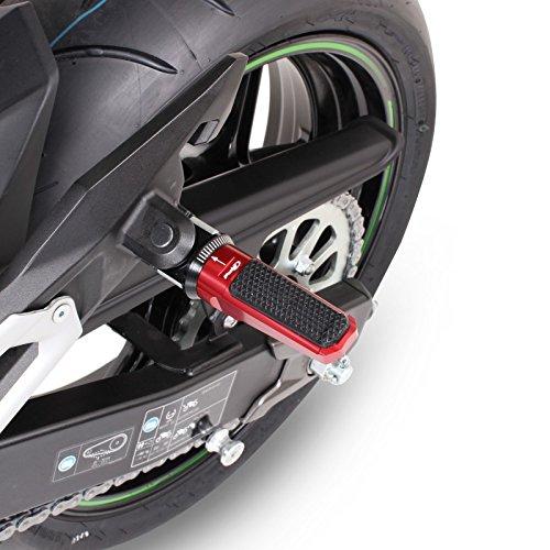 Motorrad Fu/ßrasten Set hinten Beifahrer Alu Fu/ßst/ütze Fu/ßrastenanlage Suzuki GSR 750 11-16 Puig Racing rot