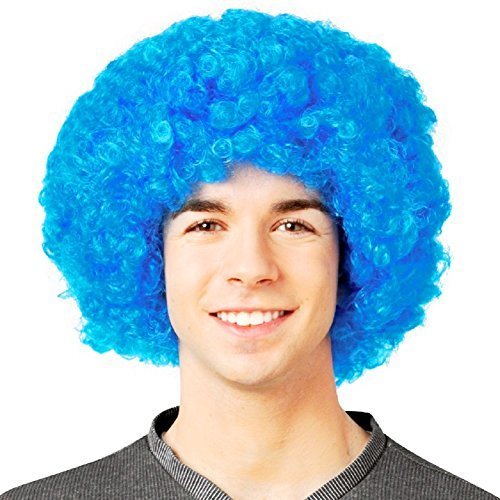 Bliss Pro's Blue Afro Wig Halloween Costume Party Wig 70's