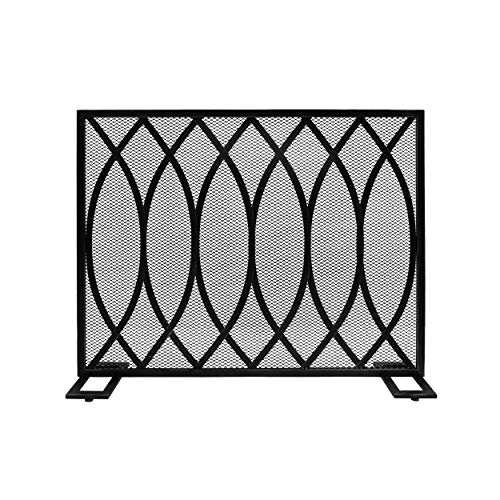Iron Firescreen - Great Deal Furniture 309250 Junior Modern Single Panel Iron Firescreen, Black Brushed Silver Finish,