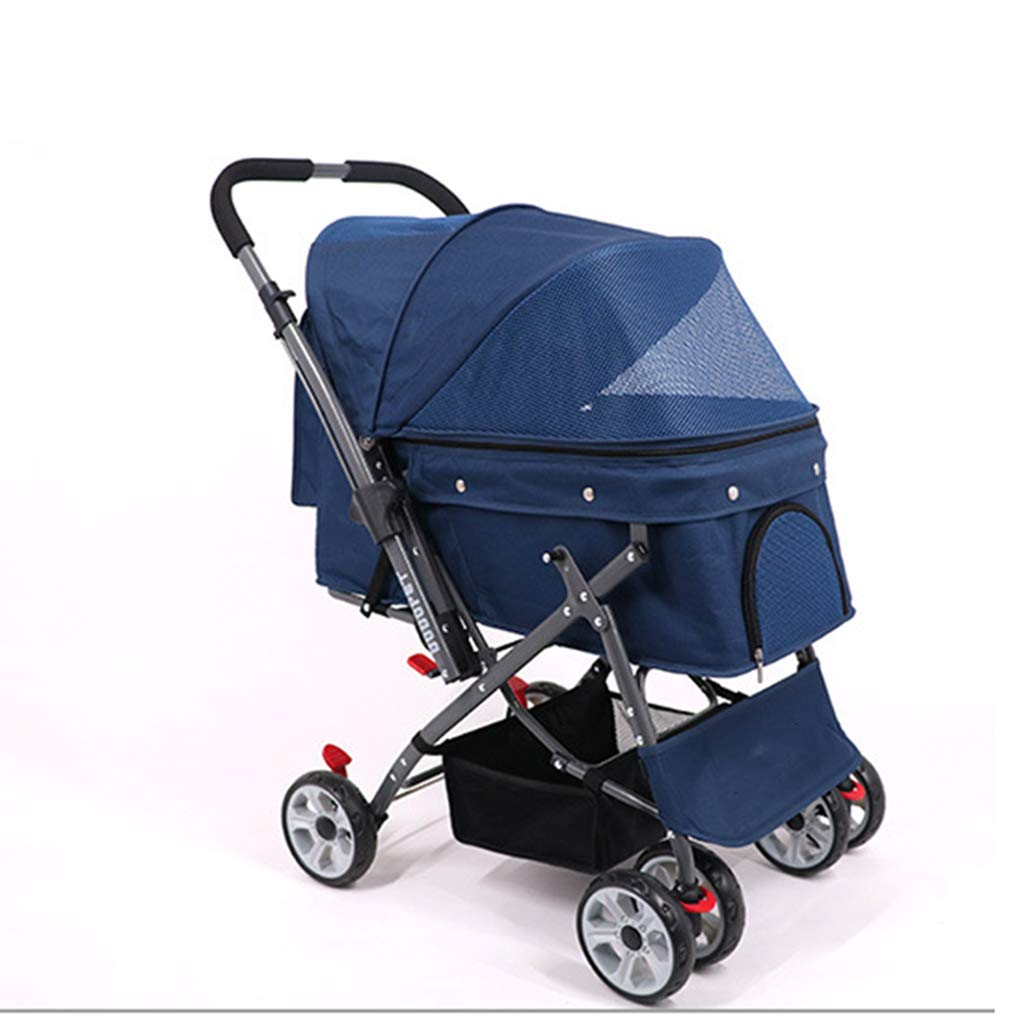 bluee Pet Stroller Dog Out of The Cart Cat Stroller One Button Folding Fast Inssizetion Out Portable Stroller Baby Car (color   bluee)