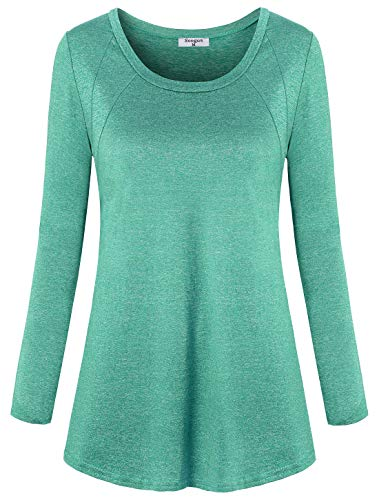 - Soogus Athletic Wear for Women, Ladies Long Sleeve Moisture-Wicking Shirts Heathered Yoga Blouse Lightweight Soft Performance Tee Running Tunics Workout Tops ,XL Green