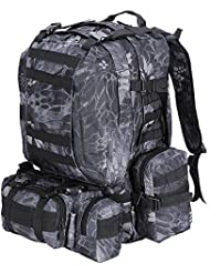 55L Outdoor Military Molle Tactical Backpack Rucksack Camping Bag Travel Hiking - Black Pythons Grain