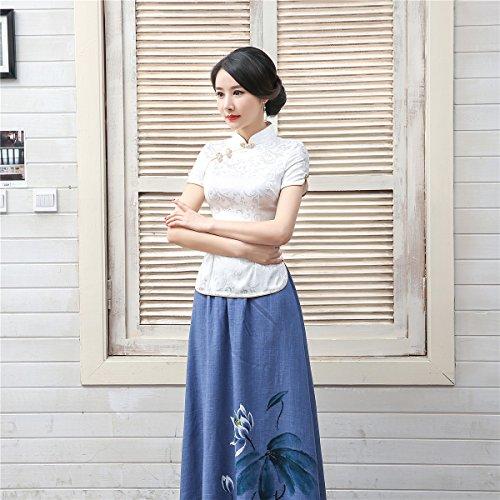 Shanghai Story Women Short Sleeve Chinese Blouse Cheongsam Top S White by Shanghai Story (Image #6)