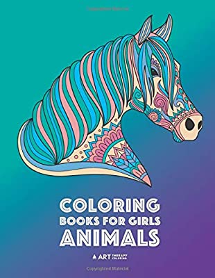 coloring books for girls animals relaxing colouring book for girls detailed coloring pages of horses lions elephants bears sloth butterflies rabbits zendoodle ages 4 8 9 12 13 19