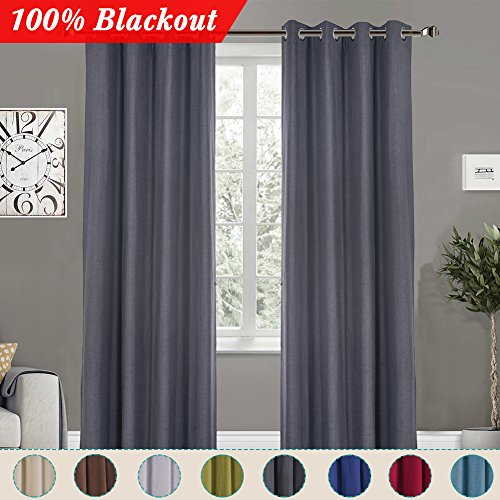 100% Blackout Curtains 1-Panel for Bedroom Living Room -Thermal Insulated Waterproof Top Window Drapes, Steal Grey, 52 x 84 Inches - 84' Window Panel
