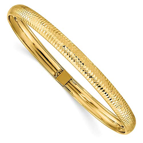14k Yellow Gold Textured Flexible Bangle Bracelet Cuff Expandable Stackable Fine Jewelry Gifts For Women For Her