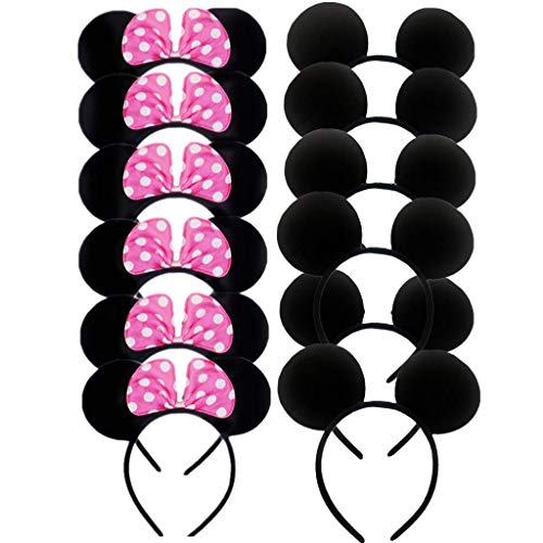 (DH Minnie & Mickey Mouse Pink Bows Headband for Girls Birthday Costume Party (12 pcs)