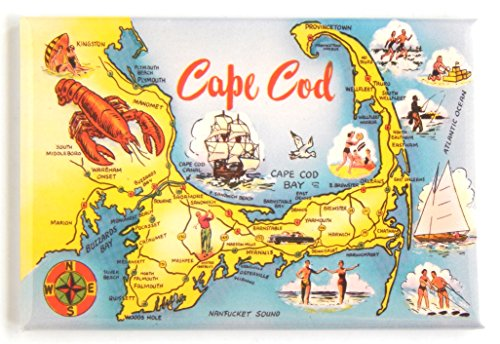 Greetings from Cape Cod Massachusetts Fridge Magnet (2 x 3 inches) (lobster and map)