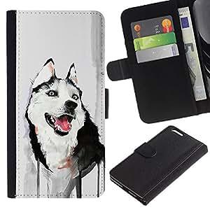 EJOY---La carpeta del tirón la caja de cuero de alta calidad de la PU Caso protector / Apple Iphone 6 PLUS 5.5 / --Divertido friendly Husky Pintura Acuarela