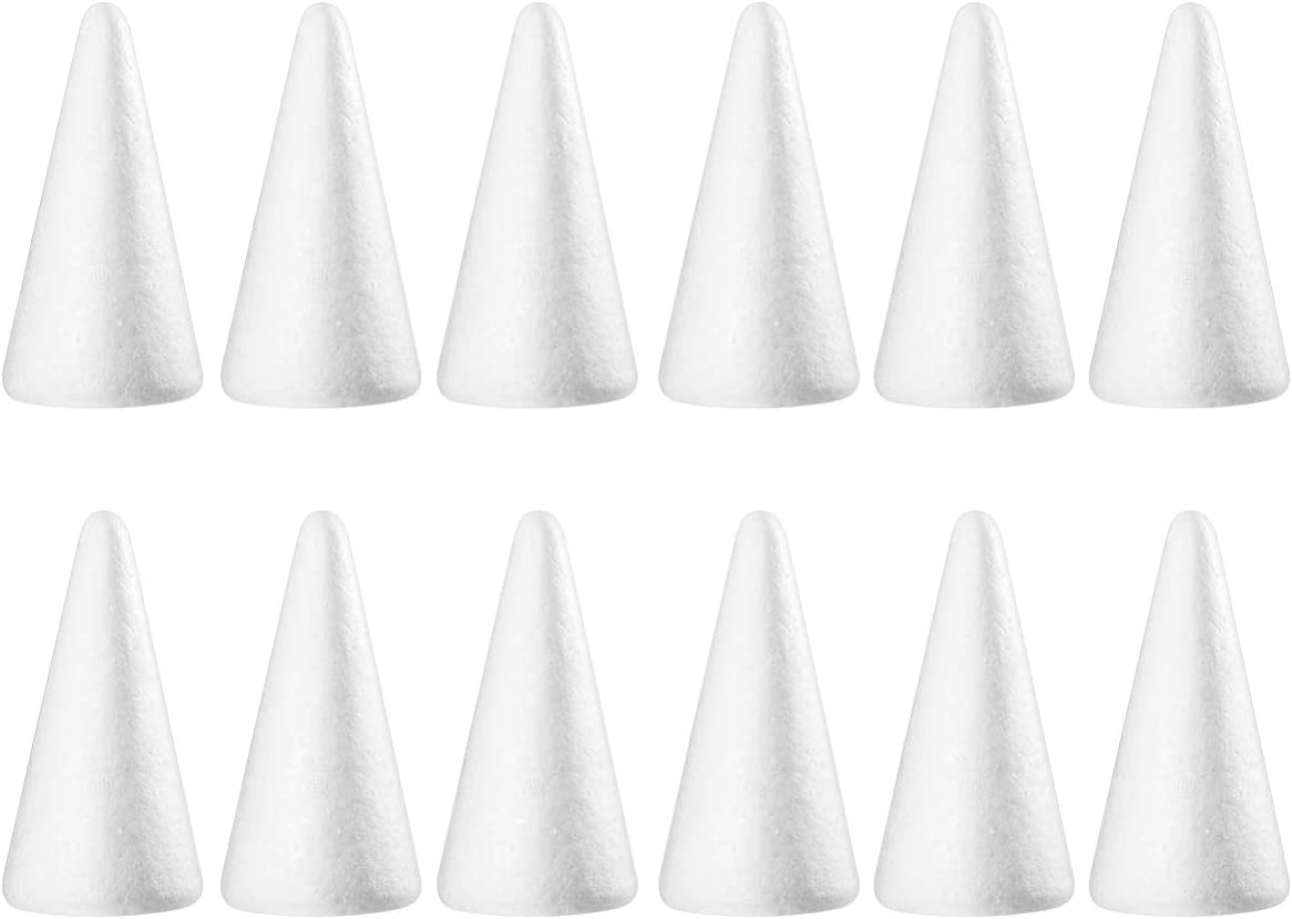 KESYOO 10pcs Foam Cones Styrofoam Cone Shaped Crafts White Craft Balls Christmas Tree Table Centerpiece Flower Arrangement Arts Crafts Supplies 18.5cm