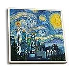Seattle, Washington - Skyline - Van Gogh Starry