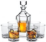 Miko Crystal Decanter Set With 6 Double Old Fashioned Glasses- Lead Free Crystal (Dornoch)