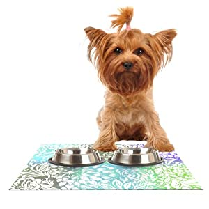 "cheap Kess InHouse Vikki Salmela ""Blue Bloom Softly for You"" Feeding Mat for Pet Bowl, 18 by 13-Inch"