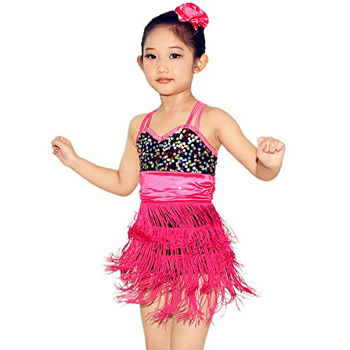 MiDee Tango Costume Order Cheerleading Uniforms Latin Dance Dress For Girls (SC, Magenta) (Cheerleading Outfits Cheap)