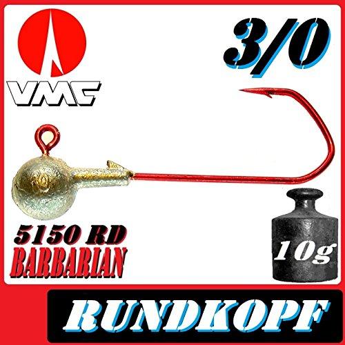 5 Stück VMC Barbarian Rundkopf Jigkopf Bleikopf 6//0 von Pilkmaxx Zander Angeln