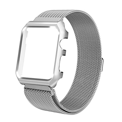 ALNBO for Apple Watch Bands 42mm Milanese Loop Mesh Magnetic iWatch Band with Metal Protective Screen Bumper Case for Apple Watch Nike+ Series 2 Series 1 Sport Edition Silver