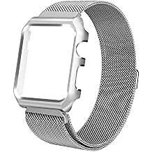 ALNBO 38mm Apple Watch Band Stainless Steel Mesh Magnetic Replacement Wrist Band with Metal Protective Case for Apple Watch Series 3 Series 2 Series 1 Sport&Edition Silver