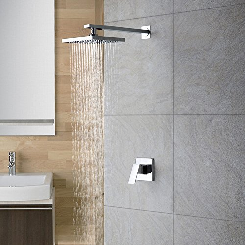 (WYRSXPY Fashion Wall-mounted Constant Temperature Series Shower Set, 8 Inches Top Spray Square Waterfall Bathroom, Chrome Copper Fittings, Mixer Hot And Cold Water Faucet, Single Handle 2-hole Install)