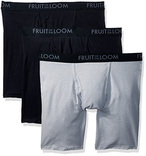 Fruit of the Loom Men's Breathable Underwear, Cotton Mesh - Assorted Color - Long Leg Boxer Brief, X-Large