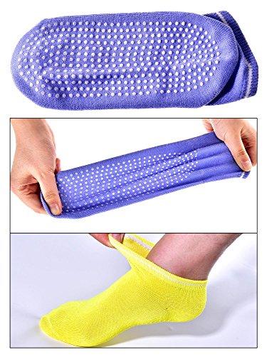 Bememo Yoga Socks Non Slip Skid Pilates Barre with Rubber Grips Socks Ballet Fitness Ankle Socks for Women and Girls (8 Colors, 8 Pairs)
