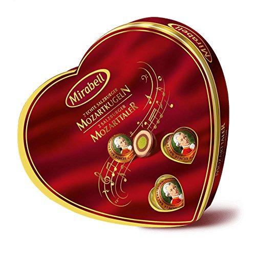 Chocolate Covered Nougat Marzipan - Mirabell Mozart Kugeln Echte Salzburger 159g Heart Shaped Gift Package